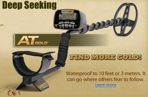 "Garrett AT Gold Metal Detector w/ 5"" x 8"" Coil & Cover"